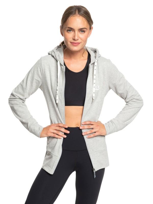0 Out In LA A - Sweat à capuche zippé pour le yoga pour Femme Gris ERJFT03946 Roxy
