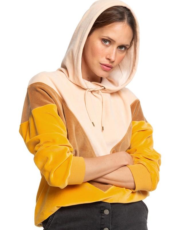 0 Chasing Waves - Sudadera de Terciopelo con Capucha para Mujer Amarillo ERJFT04041 Roxy