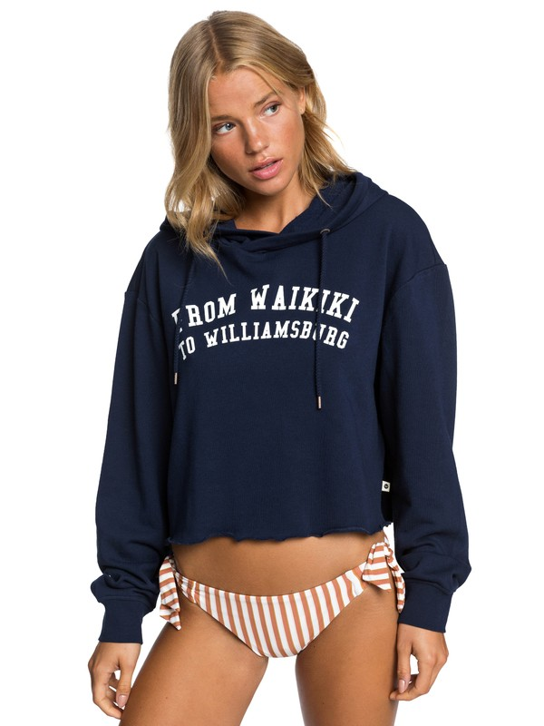 0 Sister Repair Your Universe Cropped Hoodie Blue ERJFT04097 Roxy