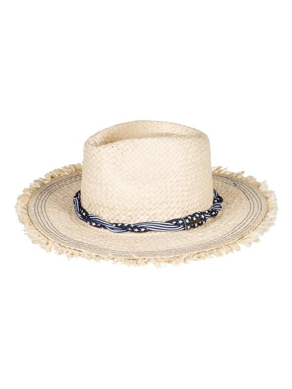 0 Beach Wearing Straw Fedora Hat Yellow ERJHA03449 Roxy
