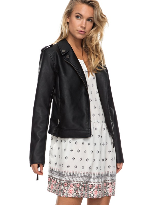 0 Midnight Ride Faux Leather Biker Jacket  ERJJK03178 Roxy