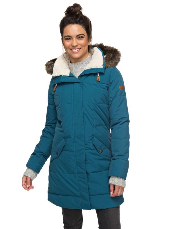 0 Ellie 5K - Wasserdichte, lang geschnittene Jacke mit Kapuze für Frauen  ERJJK03186 Roxy