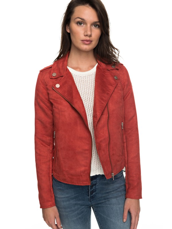 0 Love Spell - Faux-Suede Biker Jacket for Women Orange ERJJK03222 Roxy