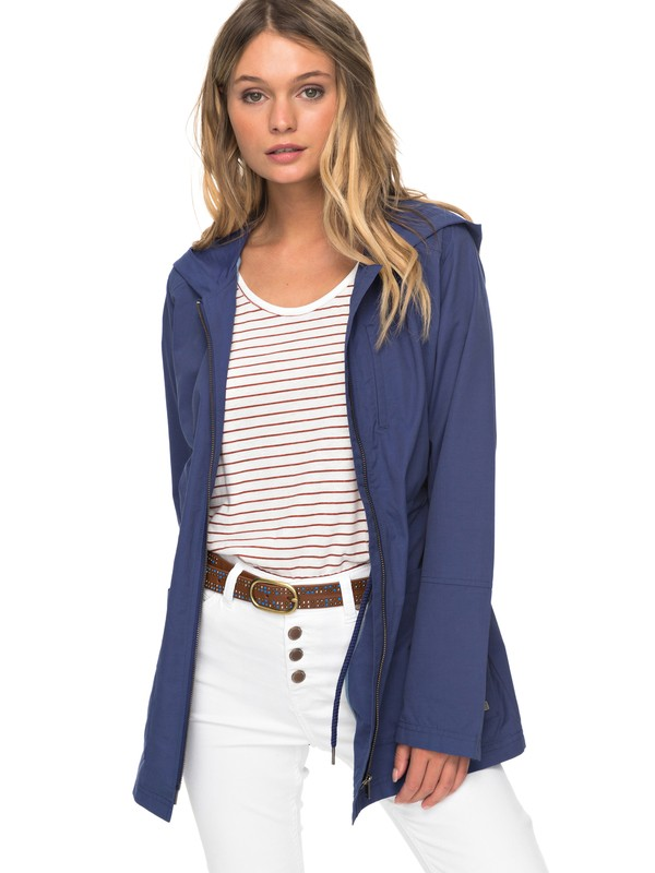 0 Crazy Clouds - Long Hooded Raincoat for Women Blue ERJJK03227 Roxy