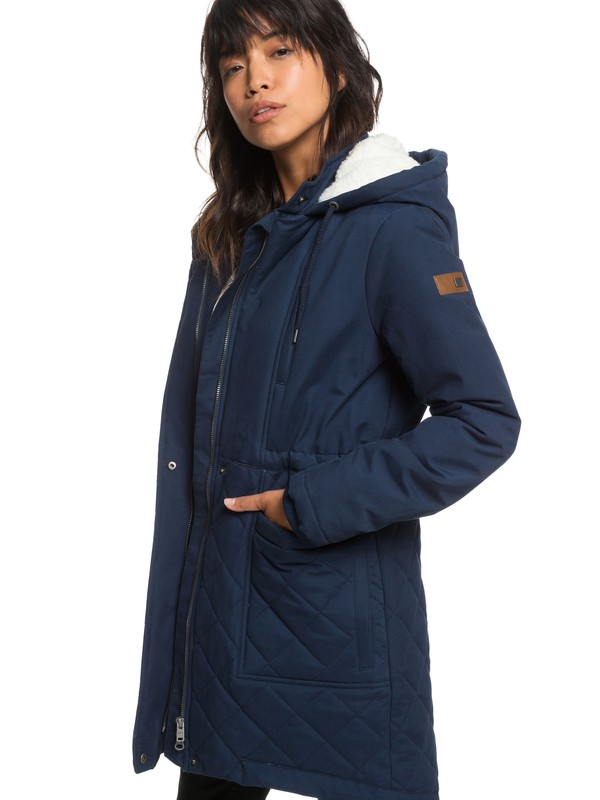 0 Slalom Chic - Waterproof Hooded Padded Jacket for Women Blue ERJJK03231 Roxy