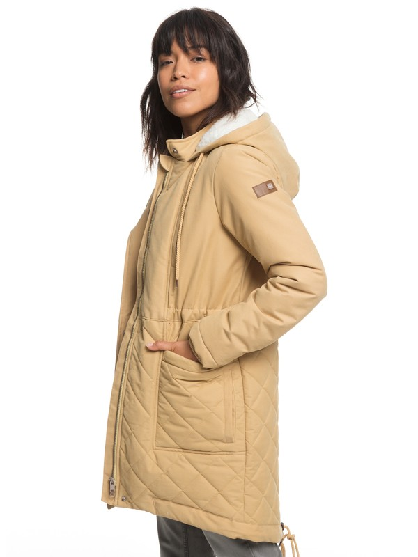 0 Slalom Chic - Waterproof Hooded Padded Jacket for Women Beige ERJJK03231 Roxy