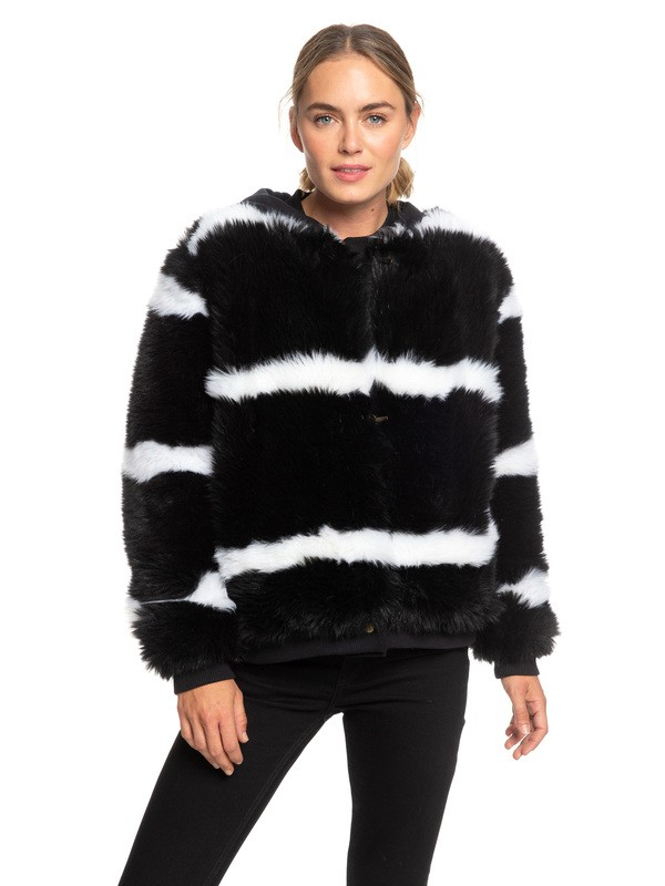 0 Carrie Technical Faux Fur Jacket Black ERJJK03236 Roxy