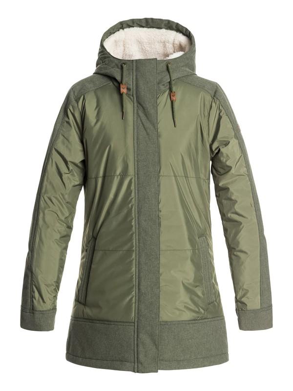 0 Sofia - Waterproof Longline Jacket for Women Green ERJJK03237 Roxy