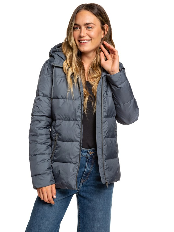 0 Harbor Days - Water Repellent Hooded Puffer Jacket for Women Black ERJJK03254 Roxy