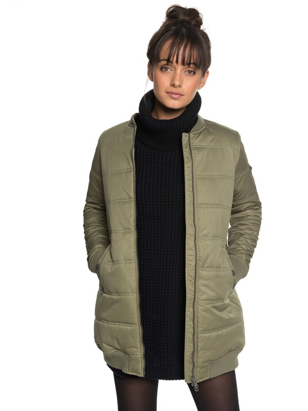 0 Fade Out - Water Repellent Longline Padded Bomber Jacket for Women Green ERJJK03255 Roxy