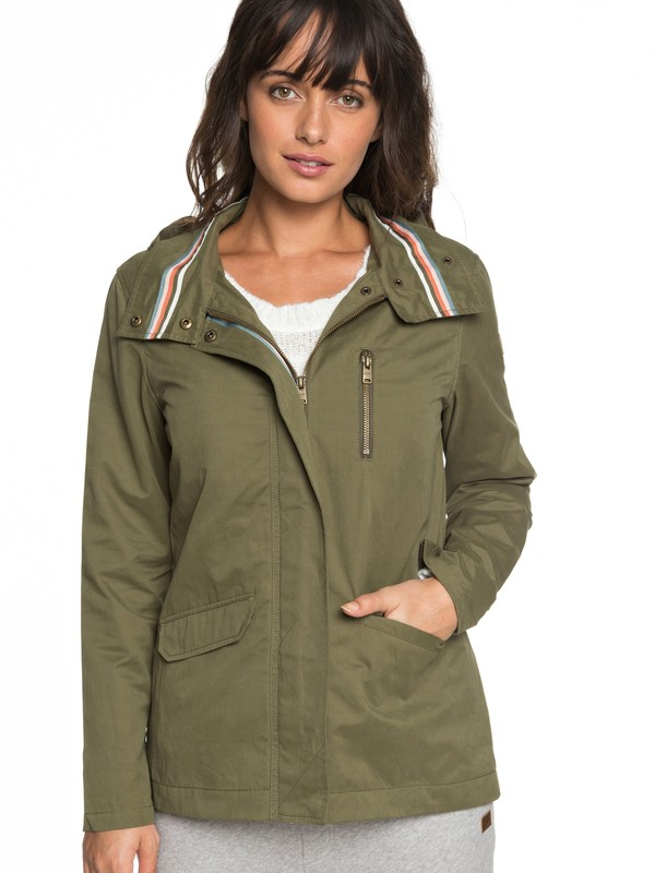 0 Lightening Strike - Hooded Military Jacket for Women Green ERJJK03260 Roxy