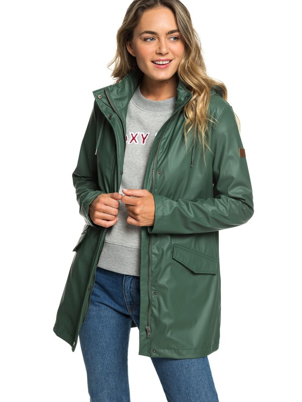 0 Early Morning - Water-Repellent Rain Mac for Women Green ERJJK03277 Roxy