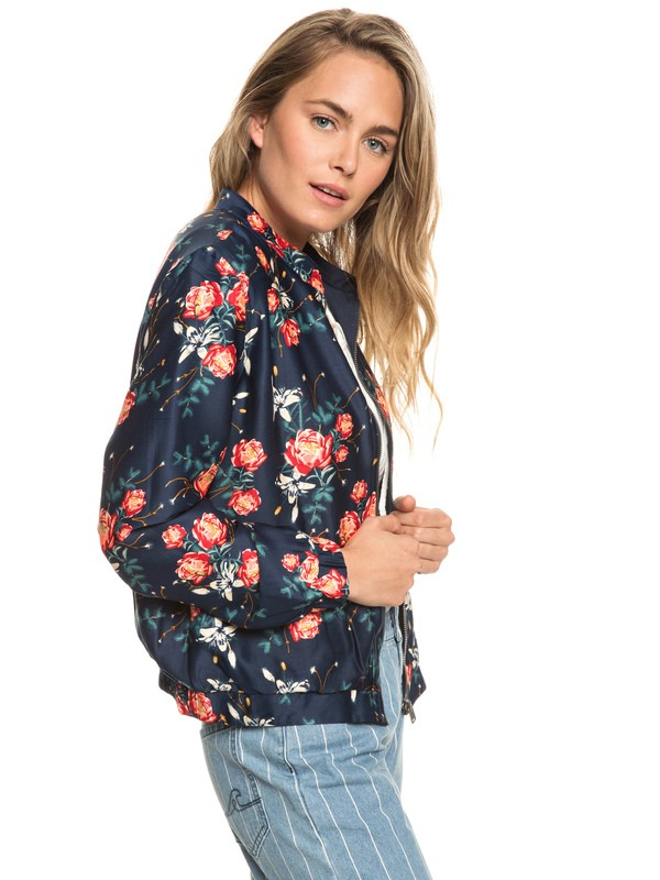 0 Hidden Star Reversible Sateen Bomber Jacket Blue ERJJK03278 Roxy