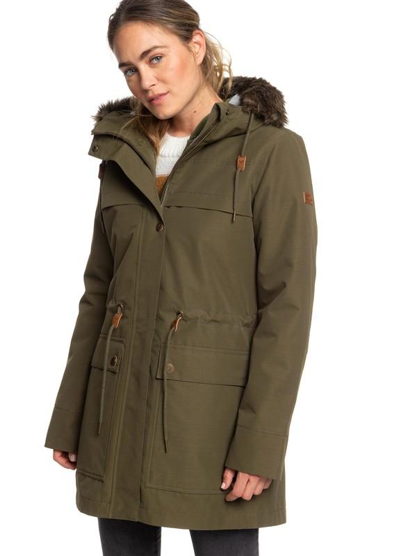 0 Amy 3-in-1 Longline Hooded Waterproof Parka Brown ERJJK03283 Roxy