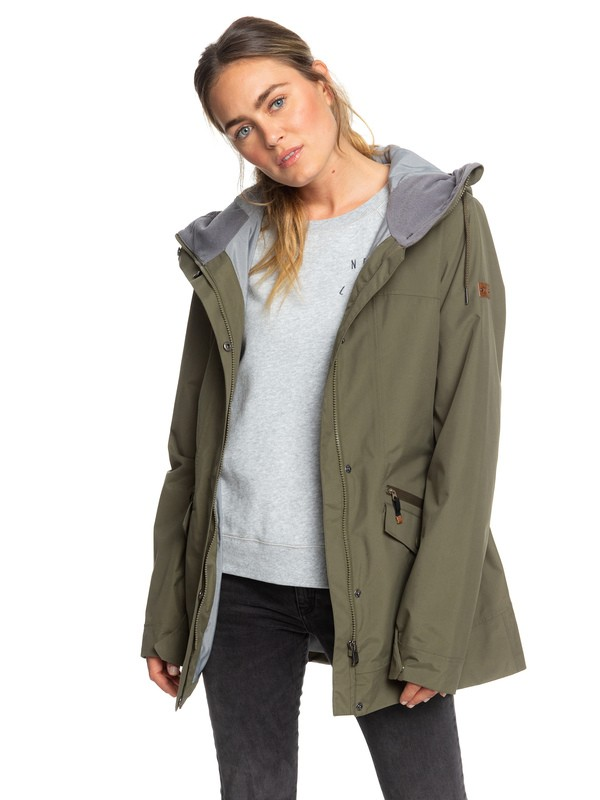 0 Stellar SpinDye® Waterproof Longline Hooded Jacket Brown ERJJK03284 Roxy