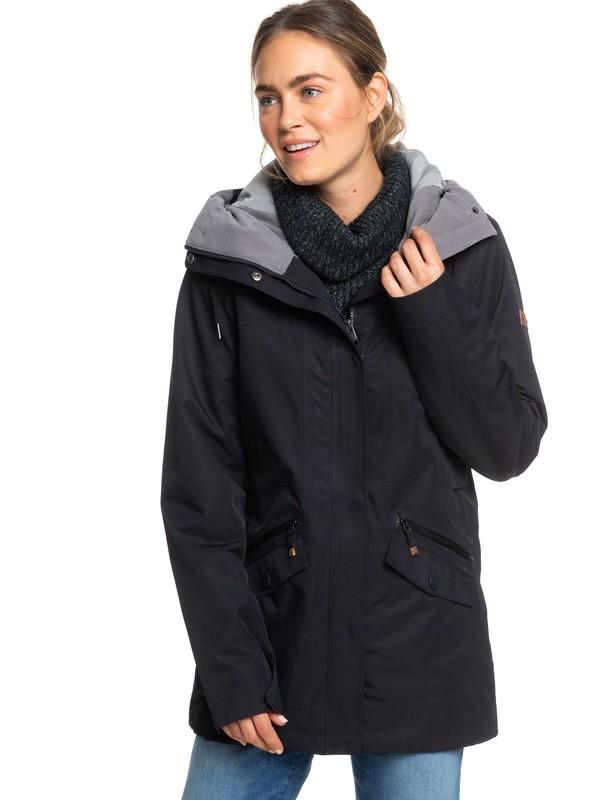0 Stellar SpinDye® Waterproof Longline Hooded Jacket Black ERJJK03284 Roxy