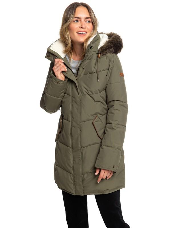 0 Ellie Longline Hooded Waterproof Puffer Jacket Brown ERJJK03289 Roxy