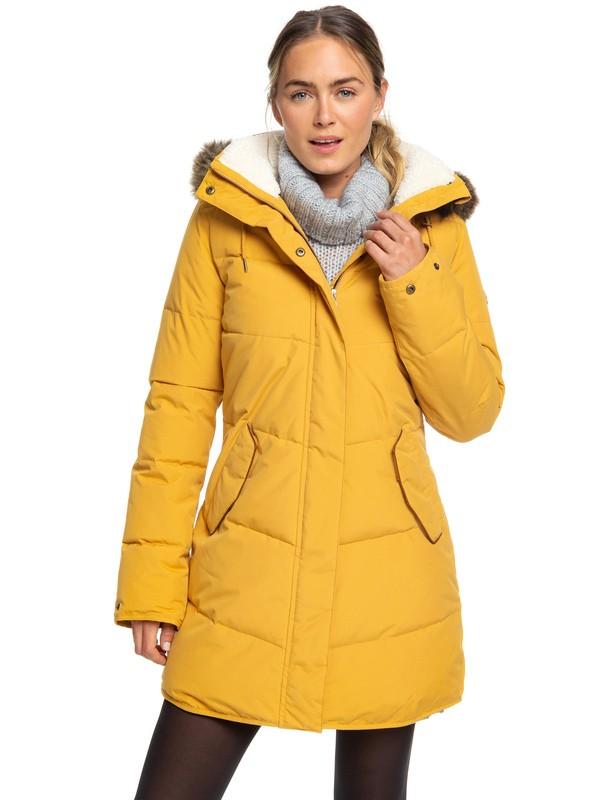 0 Ellie Longline Hooded Waterproof Puffer Jacket Yellow ERJJK03289 Roxy
