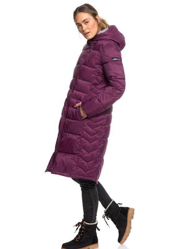 0 Everglade Longline Hooded Waterproof Puffer Jacket Purple ERJJK03290 Roxy