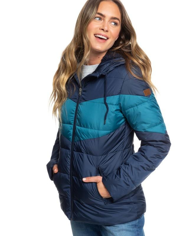 0 Feeling Breezy - Water-Resistant Hooded Puffer Jacket Blue ERJJK03316 Roxy