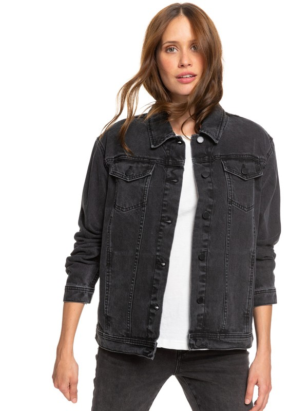 0 Midnight Drive Black Denim Boyfriend Jacket Black ERJJK03339 Roxy