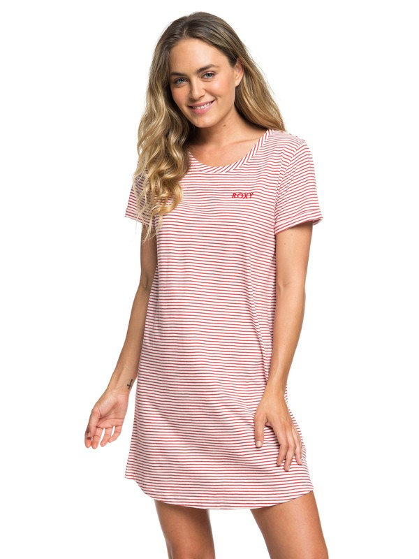 0 Love Sun - Kurzärmliges T-Shirt-Kleid für Frauen Rot ERJKD03232 Roxy