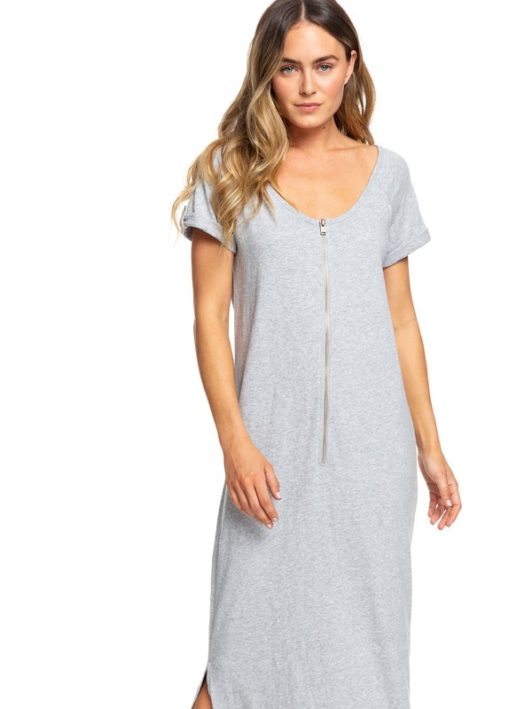 0 Sister Neptune Short Sleeve Front Zip Maxi T Shirt Dress Grey ERJKD03253 Roxy