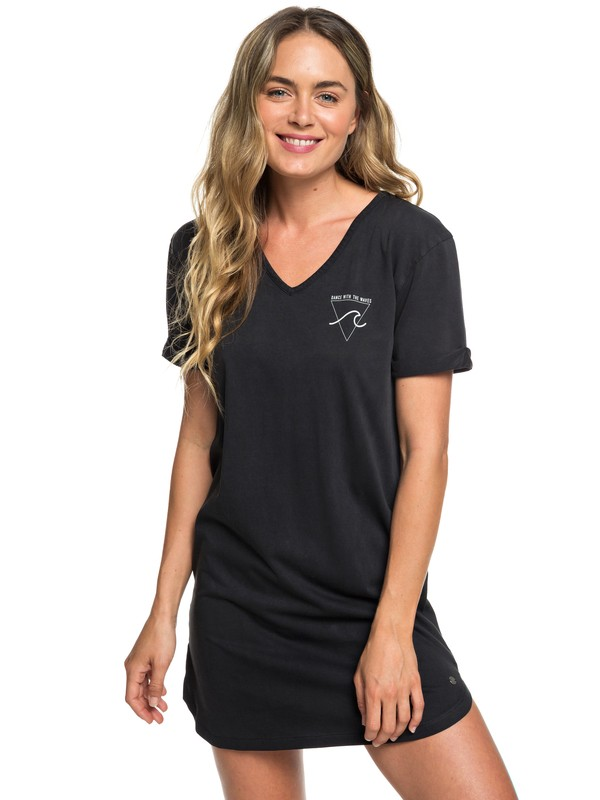 0 Pacific Groove Short Sleeve T-Shirt Dress Black ERJKD03256 Roxy