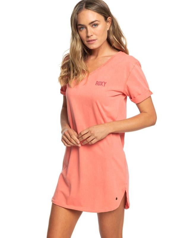 0 Pacific Groove Short Sleeve T-Shirt Dress Pink ERJKD03256 Roxy