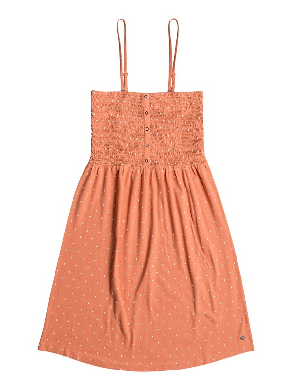 0 Summerland Party Shirred Bodice Strappy Dress Orange ERJKD03257 Roxy