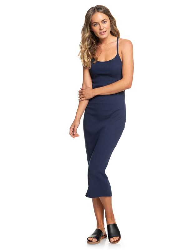 0 Likely Me Ribbed Strappy Bodycon Dress Blue ERJKD03260 Roxy