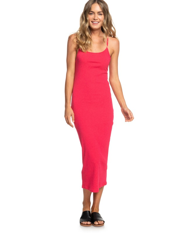0 Likely Me Ribbed Strappy Bodycon Dress Pink ERJKD03260 Roxy