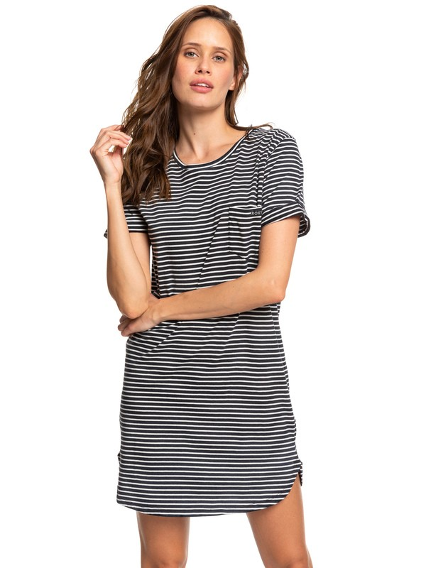 0 Walking Alone Short Sleeve T-Shirt Dress Multicolor ERJKD03265 Roxy