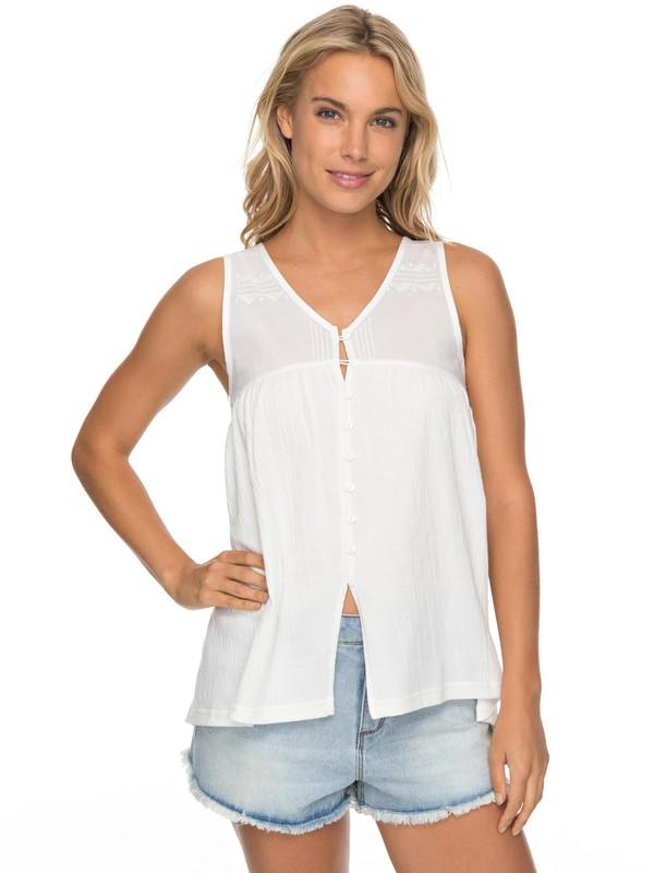 0 Delila Lace - Button Front Top for Women White ERJKT03361 Roxy