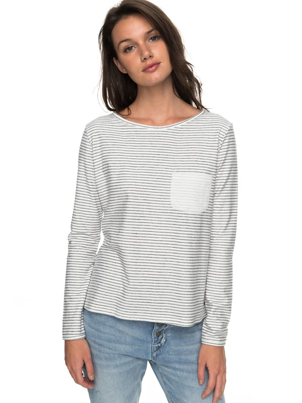 0 Slice Of Heaven - T shirt manches longues col V pour Femme Blanc ERJKT03366 Roxy