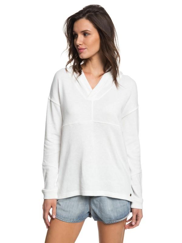 0 Sunset Surfside - Sweatshirt poncho à capuche pour Femme Blanc ERJKT03367 Roxy