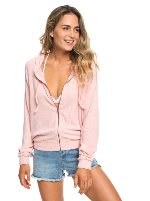 0 Cloudy Skies - Sweat à capuche côtelé zippé pour Femme Rose ERJKT03534 Roxy