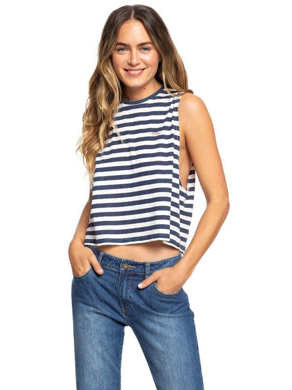 0 Sister Summer Dreamer Sleeveless Cropped T Shirt Blue ERJKT03592 Roxy