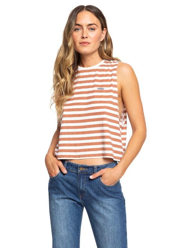 0 Sister Summer Dreamer Sleeveless Cropped T Shirt Brown ERJKT03592 Roxy