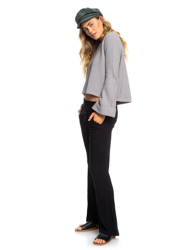 0 Oceanside Flared Linen Pants Black ERJNP03184 Roxy