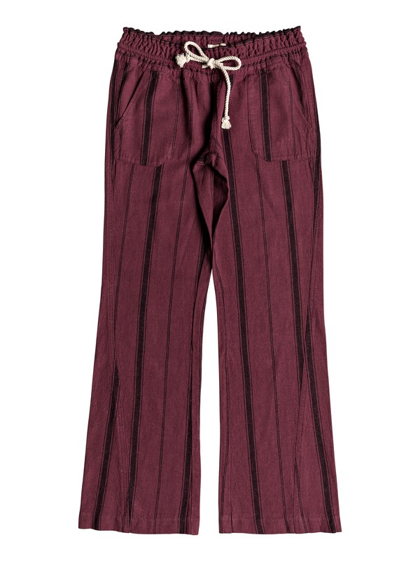 0 Oceanside Flared Linen Pants Red ERJNP03210 Roxy