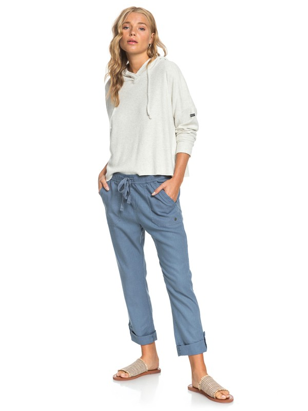 0 Symphony Lover New Linen Pants Blue ERJNP03226 Roxy