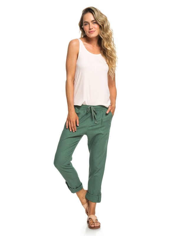 0 Symphony Lover New Linen Pants Green ERJNP03226 Roxy