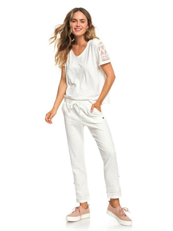 0 Symphony Lover New - Pantalon en lin pour Femme Blanc ERJNP03226 Roxy