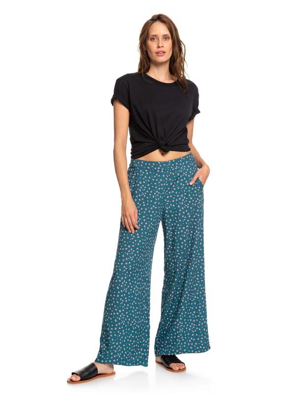 0 Midnight Avenue Wide Leg Viscose Pants Blue ERJNP03227 Roxy