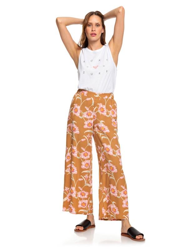 0 Midnight Avenue Wide Leg Viscose Pants Brown ERJNP03227 Roxy