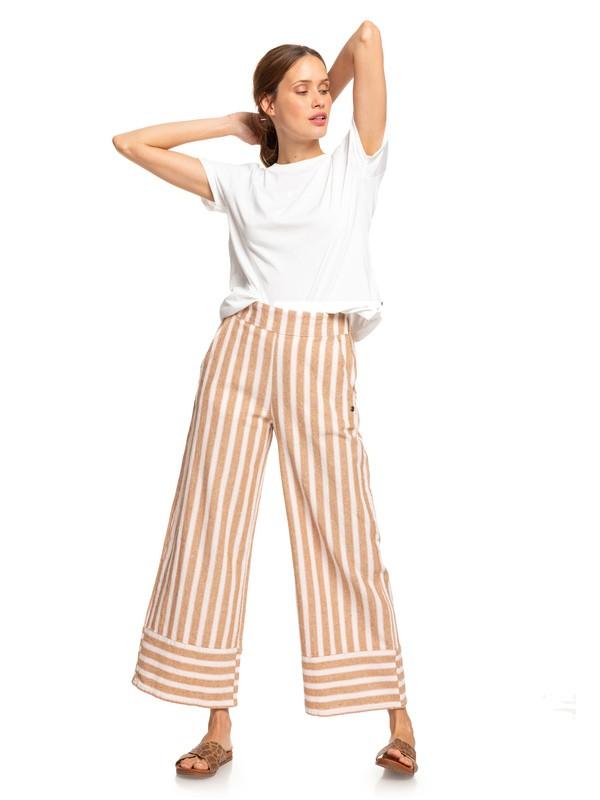 0 Wild Ideas Wide Leg Linen Pants White ERJNP03247 Roxy