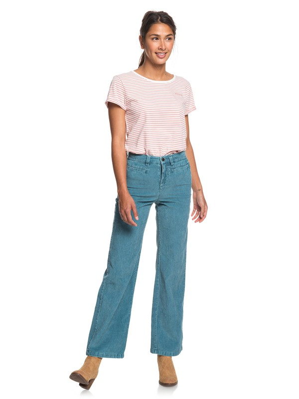 0 Discover People Corduroy Flared Pants Blue ERJNP03263 Roxy