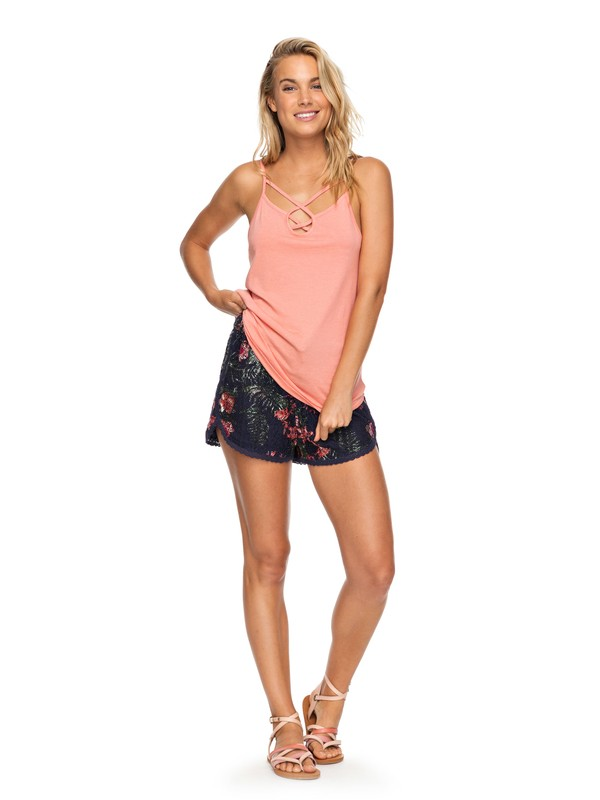 0 Wild Red Earth Lace Trim Shorts Blue ERJNS03159 Roxy