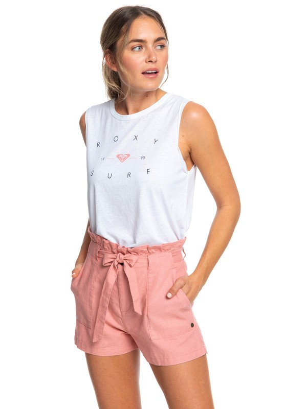 0 Chic And Elegance Linen Shorts Pink ERJNS03225 Roxy